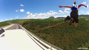 Dude BASE Jumps Off  A Bridge...From Moving Van | EpicTV Fresh Catch