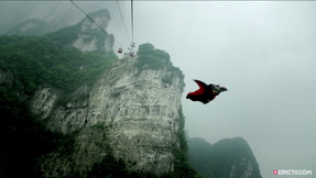 Wingsuit Pilot Narrowly Escapes Collision With Gondola On Tianmen Mountain