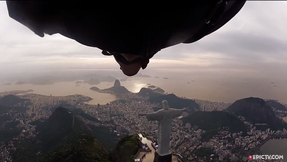 Wingsuit Flyling Under Arm of Christ The Redeemer In Rio De Janeiro | EpicTV Fresh Catch