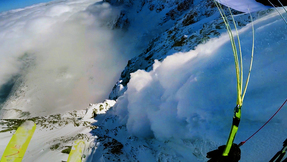 Speedrider Flies Through Airborne Avalanche